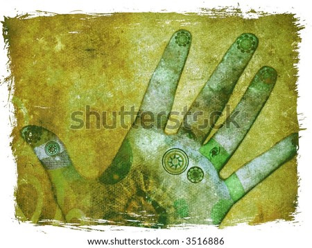 Green chakra hands with reflexology points - healing energy - stock photo