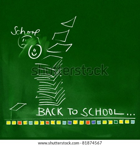 green chalkboard background - back to school doodles - stock photo
