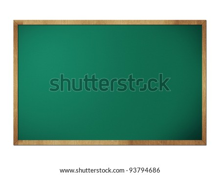 Green chalkboard blackboard with frame isolated on white - stock photo
