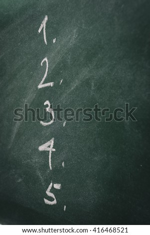 Green Chalkboard  list  - stock photo