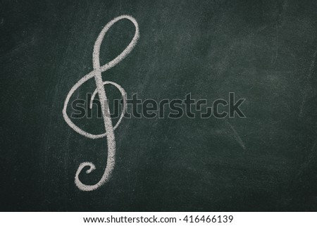 Green Chalkboard music - stock photo