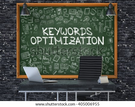 Green Chalkboard on the Dark Brick Wall in the Interior of a Modern Office with Hand Drawn Keywords Optimization. Business Concept with Doodle Style Elements. 3D. - stock photo