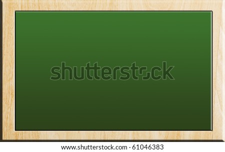 Green chalkboard on wooden background, empty to insert text or design