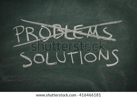 Green Chalkboard problems, solutions - stock photo