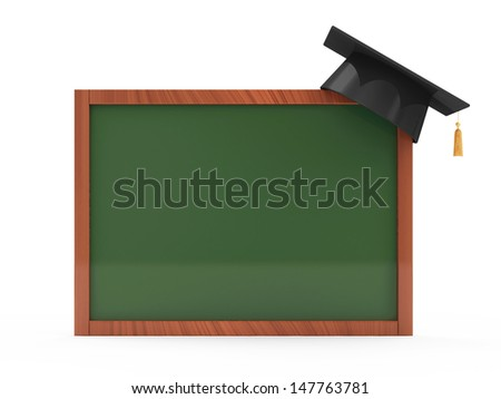Green chalkboard with Graduation Cap isolated on white background - stock photo
