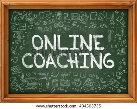 Green Chalkboard with Hand Drawn Online Coaching with Doodle Icons Around. Line Style Illustration. - stock photo