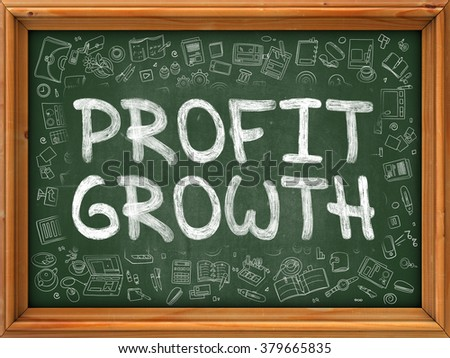 Green Chalkboard with Hand Drawn Profit Growth with Doodle Icons Around. Line Style Illustration. - stock photo