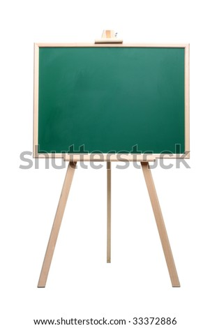 Green chalkboard with wooden frame standing on a white background isolated on white - stock photo