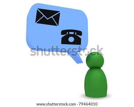 green character with blue balloon with contact