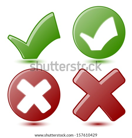 Green Check mark and Red Cross Symbols - stock photo