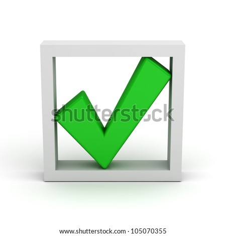 Green check mark in box on white background - stock photo