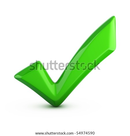 green check mark isolated on white - stock photo