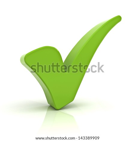 Green check mark isolated over white background with reflection - stock photo