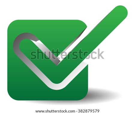 Green check mark over square. tick symbol, icon. - stock photo