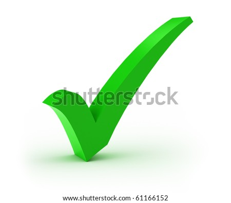 Green check mark over white background - stock photo