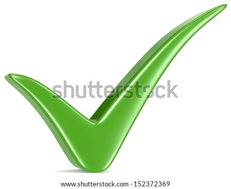 Green Check Mark, white background. - stock photo