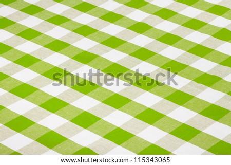 green checkered tablecloth - stock photo