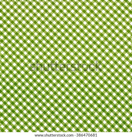 Beautiful Green Checkered Tablecloth Background.