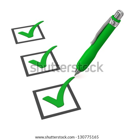 Green checklist with ballpen on the white background. - stock photo