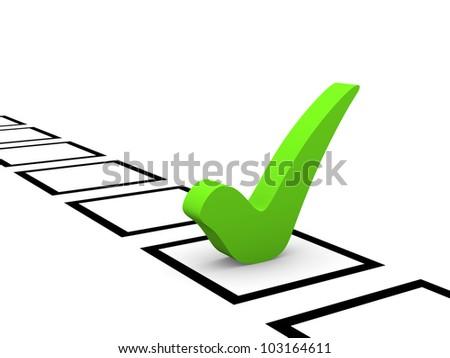 Green checkmark in checklist - stock photo