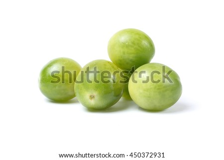 Green Cherry Tomato whole on white background