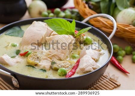 Green Chicken Curry,Thai cuisine - stock photo
