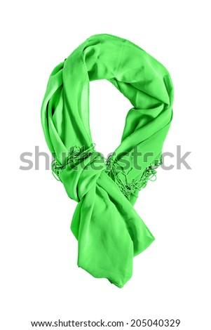 Green chiffon tied scarf on white background - stock photo