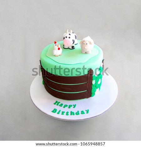 Green Childrens Cake Farm Animals On Stock Photo Royalty Free