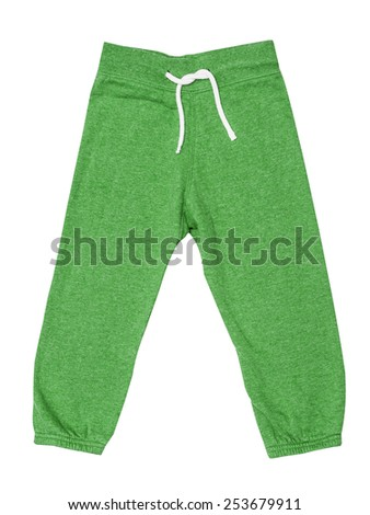 Green children's sports trousers with ties isolated on the white - stock photo