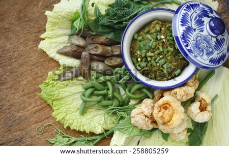green chili dip with cooked vegetable and pork snack, thai style green chilli dip with cooked vegetable and pork snack,  - stock photo