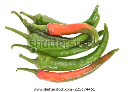 Green Chili Isolated On White Background - stock photo