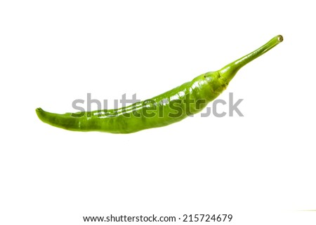 Green chili pepper isolated on a white background - stock photo