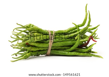 Green chili pepper on a white background  - stock photo