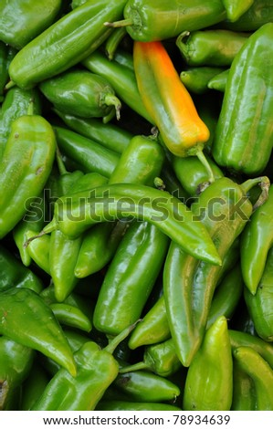 green chili peppers at the market