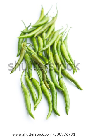 Green chili peppers isolated on white background.