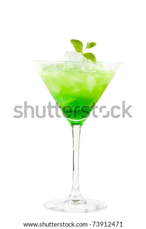 Green chilled cocktail with mint isolated on white background