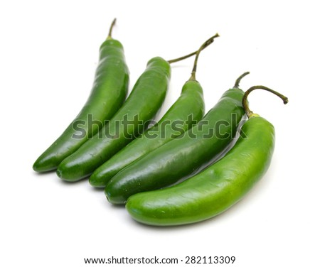 Green Chillies isolated on white background