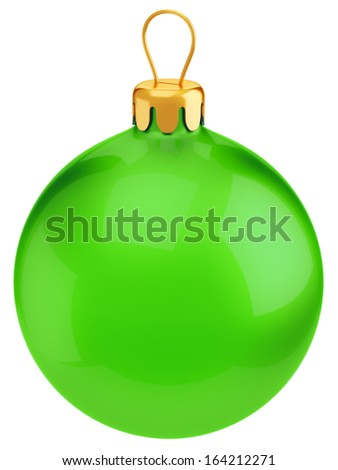 Green Christmas and New Year decoration glossy ball isolated on white background