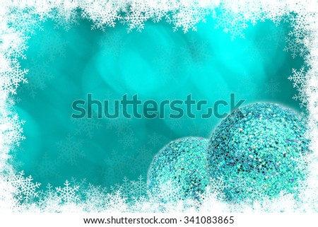 green Christmas ball and green bokeh background with copyspace. - stock photo