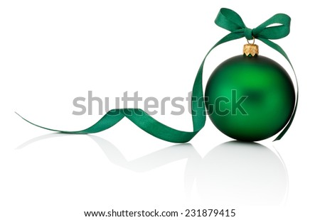 Green Christmas ball with ribbon bow Isolated on white background - stock photo