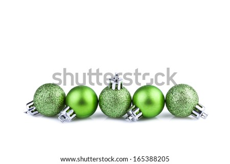 green christmas balls  - stock photo
