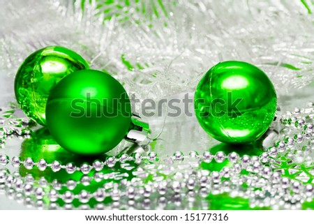 green Christmas balls with silver tree - stock photo