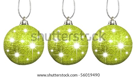 Green christmas baubles on strings - stock photo