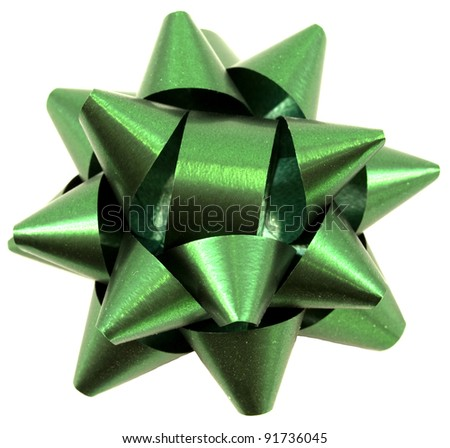 Green christmas bow isolated on white background - stock photo