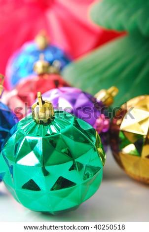 green Christmas bulb shallow depth of field, focus on bulb. - stock photo