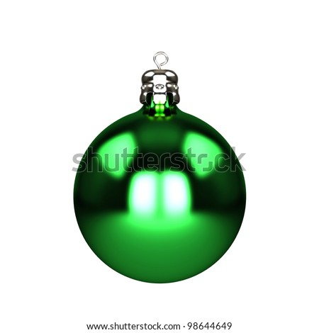 Green christmas decorations baubles isolated on white - stock photo