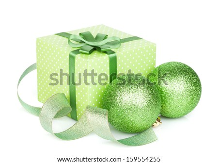 Green christmas gift boxes and decor. Isolated on white background - stock photo