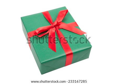 green christmas gift isolated on white