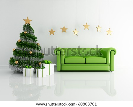 green christmas interior  with modern tree and classic sofa - rendering - stock photo