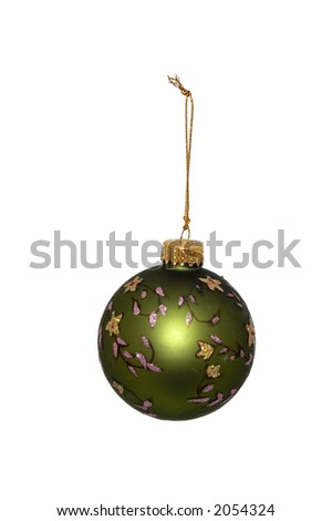 Green Christmas ornament over a white background